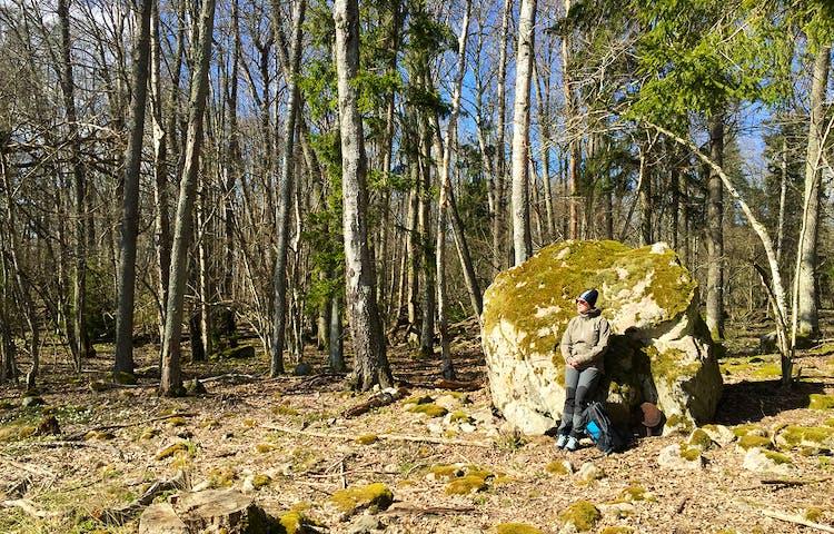 Kvinna lutar sig mot sten som är större än henne. På marken bredvid står en ryggsäck. Lövskog i bakgrunden.