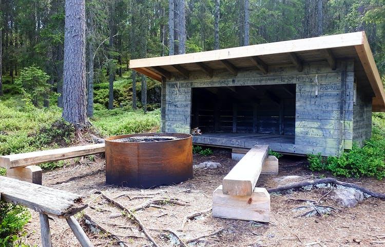 Rund eldstad med två bänkar vid ett vindskydd i en skogsglänta.
