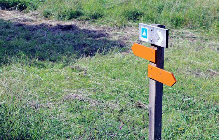 Stolpe med orange pilar visar vägen.