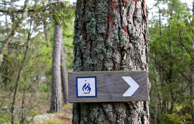 Skylt sittande på träd som visar vägen mot grillplats.