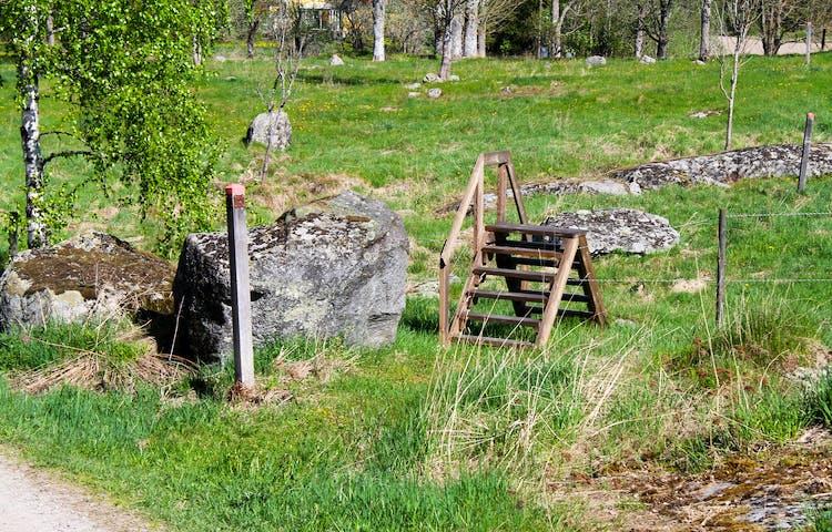En stätta, en enklare trapp, över staket in i hagen. Stolpe med orange markering visar rätt väg.
