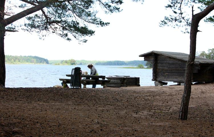 Ett vindskydd med eldstad och bänkbord i ett skogsbryn. Vindskyddet ligger vid älvkanten.