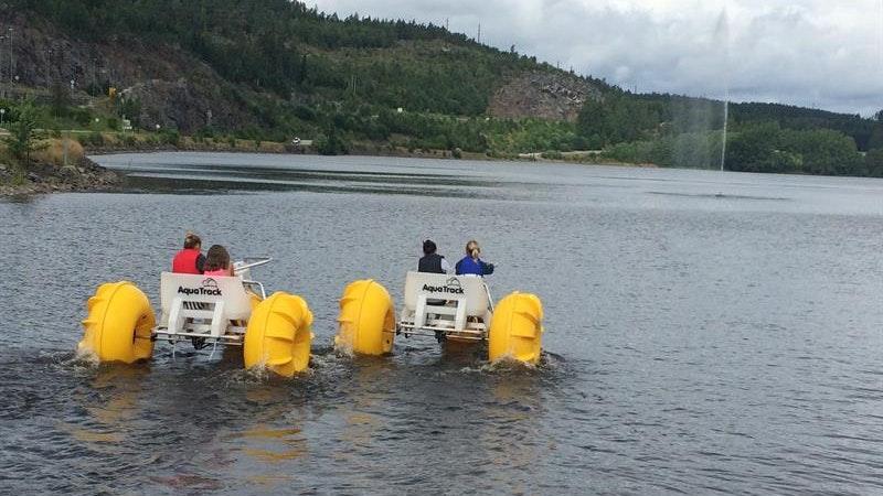Waterbikes in the Haldencanal, Ørje