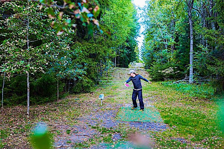 personer som kastar en frisbee i skogen