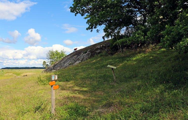 Rudöklippan med ängsmark runtikring. En stolpe med orange pilar visar vägen.