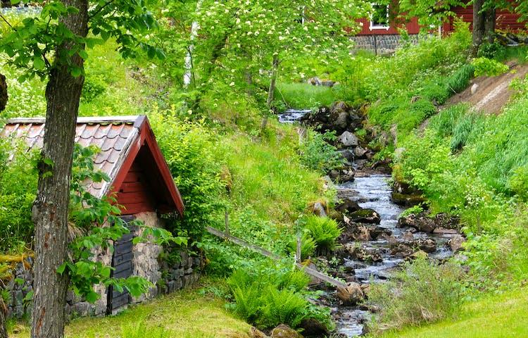Bäck rinner fram längs stenar. En liten stenbeklädd byggnad står vid sidan av bäcken.