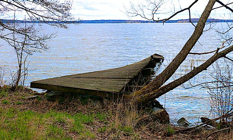 Träbrygga som går ut i vattnet.