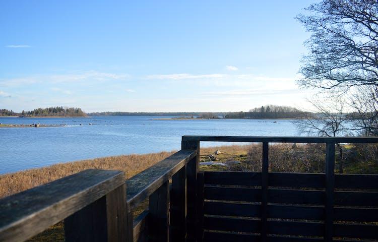 Utsikten från fågeltornet är över vattnet och öar i fjärran. Ett räcke går hela vägen runt tornets plattform.
