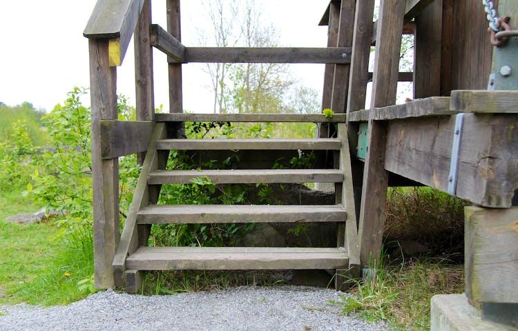 Fågeltornet nås via trappor.