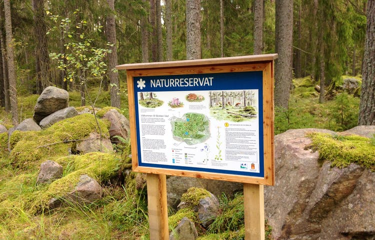 I skogen står en informationstavla framför några större stenblock.