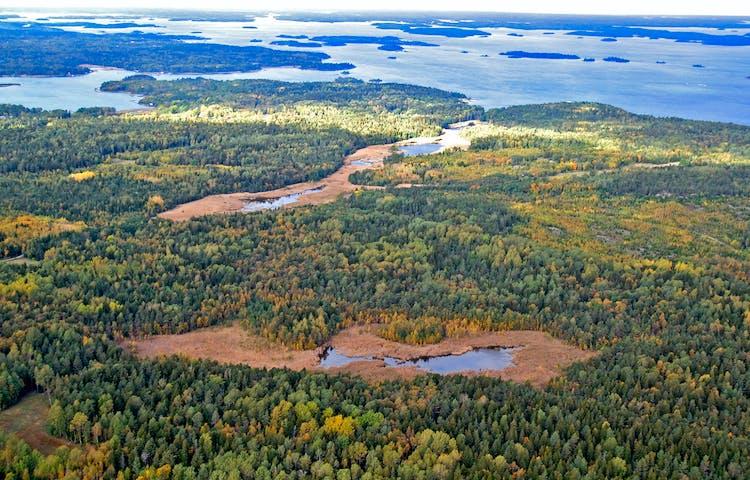 FugbiFlygbild över Häverö-Bergby naturreservat. Foto: Länsstyrelsen Stockholm.