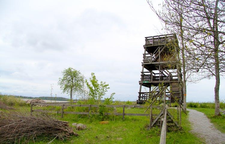 Fågeltornet är fyra våningar högt. Du når varje etage med trappor. I förgrunden syns en stätta, en enklare trappa, som går över ett staket.