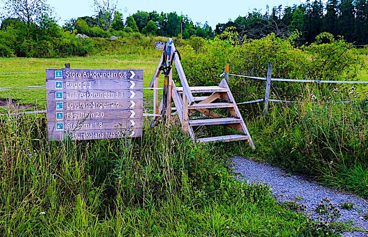 Träskyltar som visar väg och avståndsangivelser. Bredvid finns en stätta, en enklare trapp över ett staket.