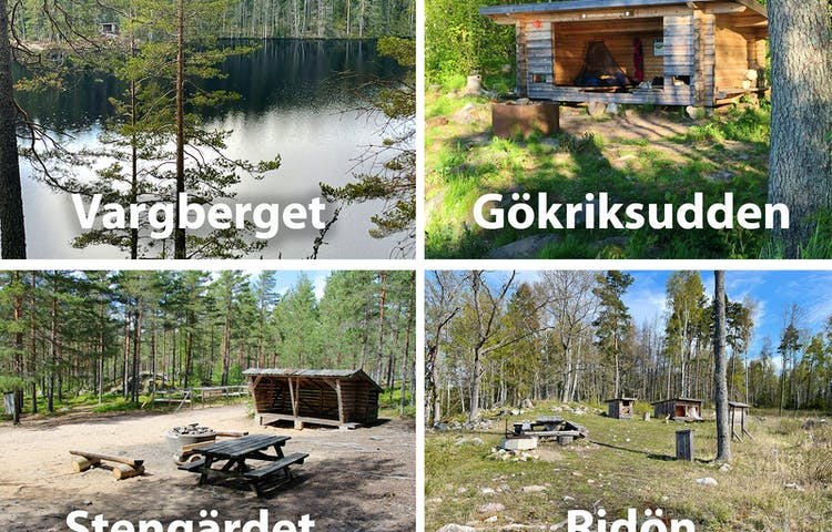 Bildcollage: fyra vindskydd i fyra naturreservat.