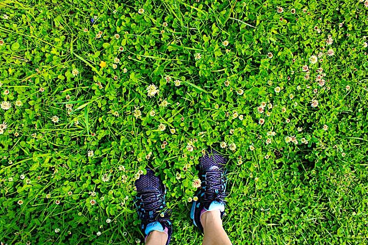 Ett par fötter står bland hagens vitklöverblommor