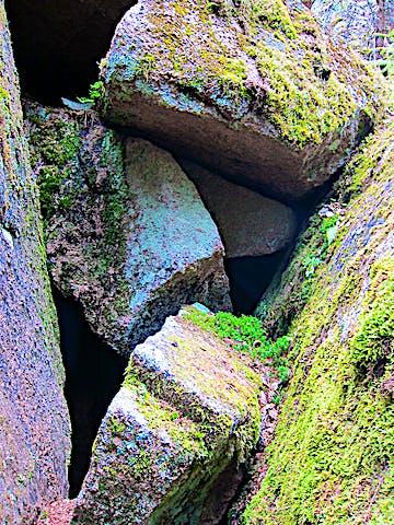 Klippskreva med flera stenblock.