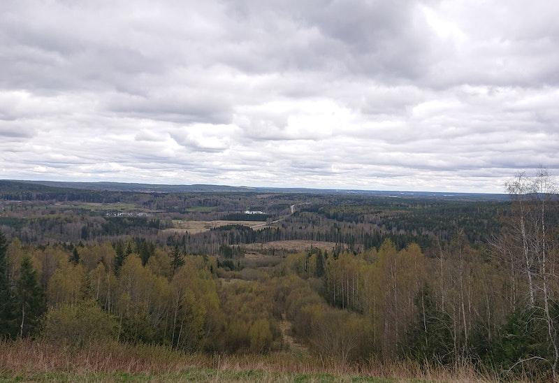 Utsikt vid etappens mål i riktning mot Fagersta