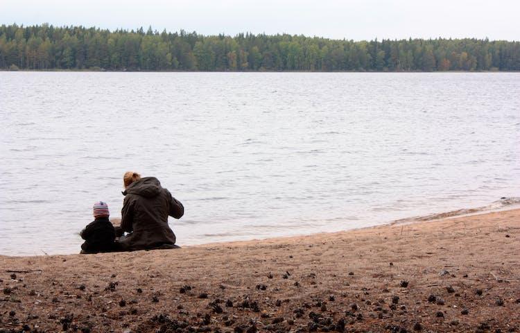 En vuxen och ett barn sitter vid kanten av en sandstrand. Marken är täckt av tallkottar.