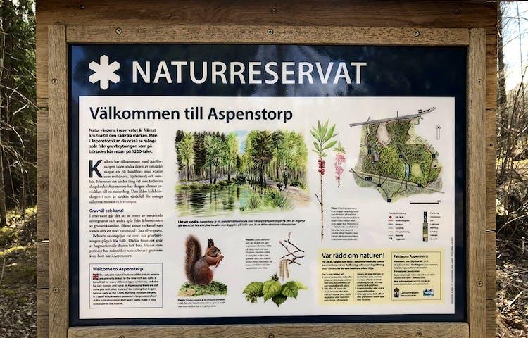 Informationstavla över naturreservatet Aspenstorp.